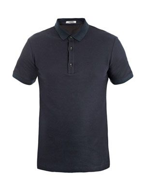 Shirt-back piqué polo top