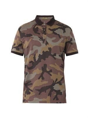 Camouflage-print polo top