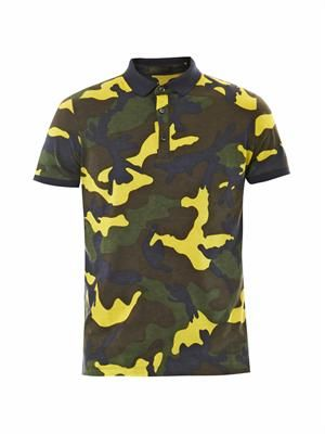 Camouflage-print jersey polo shirt
