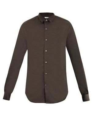 Covered-stud collar shirt