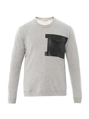 Leather-pocket cotton sweatshirt