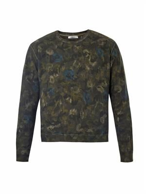Floral camo-print cotton sweatshirt