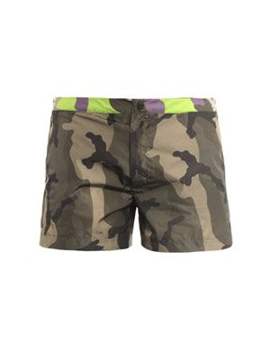 Camo waistband short swim shorts