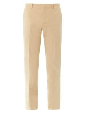 Flat-front cotton trouser
