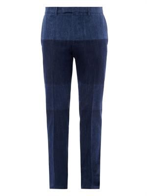 Flat-front tailored denim trousers
