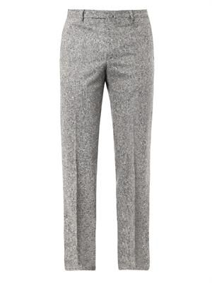 Salt and pepper-weave tailored trousers