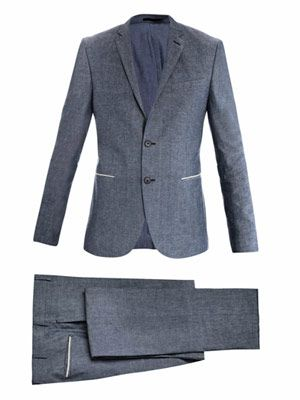 Cotton-chambray two-button suit