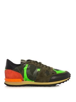 Camo-print suede and leather trainers