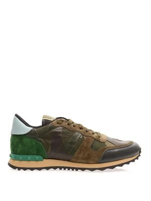 Leather and suede camo-print trainers