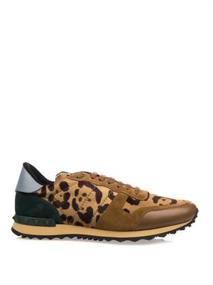 Leopard calf-hair and suede trainers