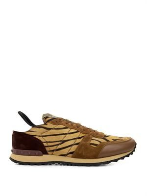 Tiger-print calf-hair and suede trainers
