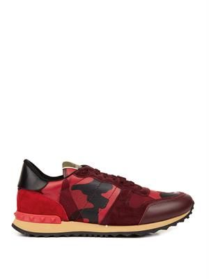 Camo-print leather, suede and canvas trainers