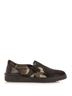Camouflage calf-hair slip-on trainers
