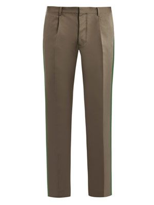 Side stripe silk-blend trousers