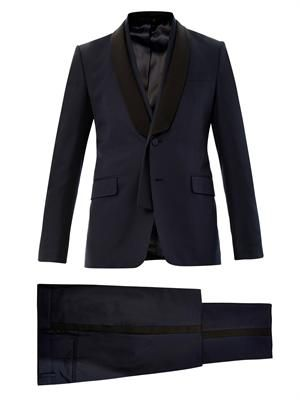 Shawl lapel wool and silk-blend tuxedo