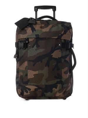 Camo-print trolly suitcase