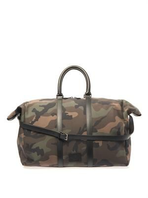 Camo-print weekend bag