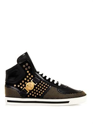 Studded high-top leather trainers