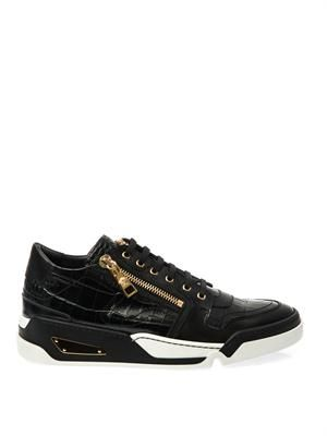 Embossed leather trainers