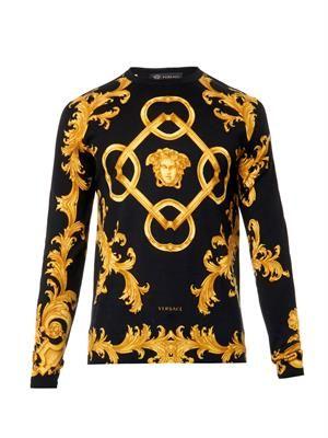 Medusa-print fine-knit sweater