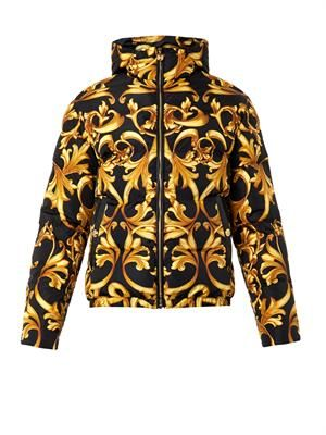 Barocco-print quilted down jacket
