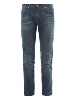 Straight-leg mid-wash jeans