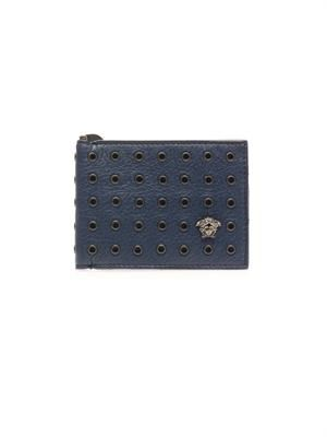Eyelet-studded leather wallet