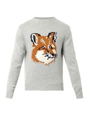 Fox crew-neck wool sweater