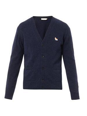 Fox-badge wool cardigan