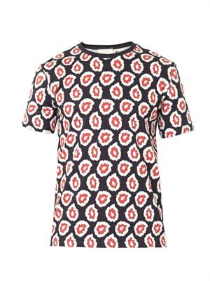 Micro-flame-print cotton T-shirt