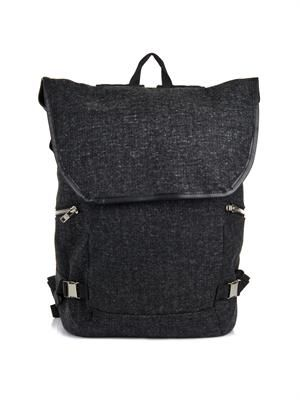 Loden wool and leather backpack