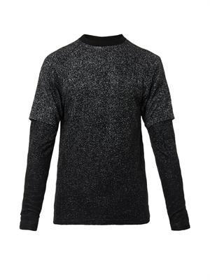Inset-sleeve crew-neck sweater