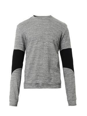Contrast-sleeve crew-neck sweatshirt