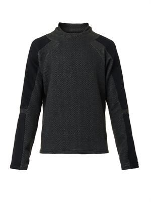 Herringbone quilted sweatshirt
