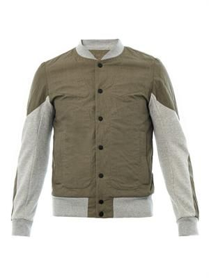 Bi-colour cotton bomber jacket