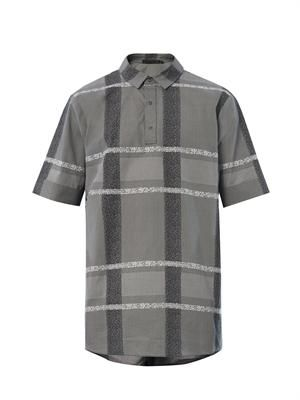 Oversized check short-sleeved shirt