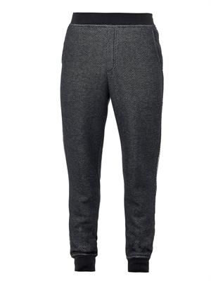 Textured-stripe jersey track pants