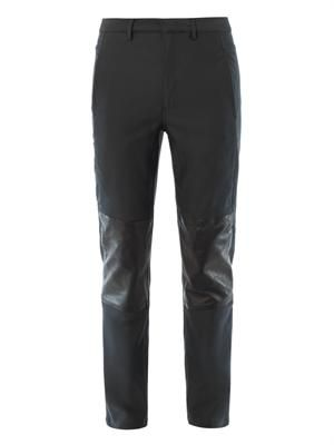 Leather knee-panel trousers