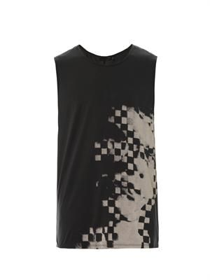 Distorted face mosaic-print tank top