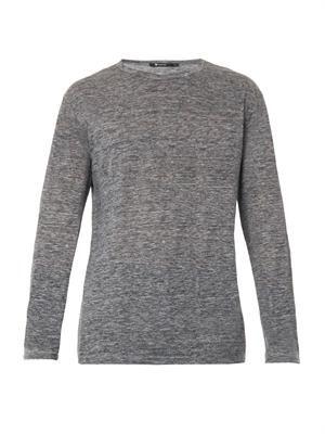 Long-sleeved slub linen-jersey T-shirt