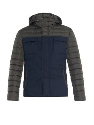 Down-filled twill and quilted jacket