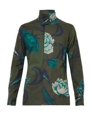 Floral-print stand-collar shirt