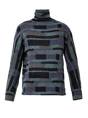 Roll-neck intarsia-knit sweater