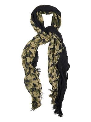 Camouflage crinkled scarf
