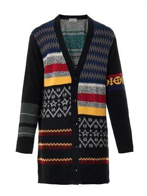 Multi-knit wool-blend cardigan