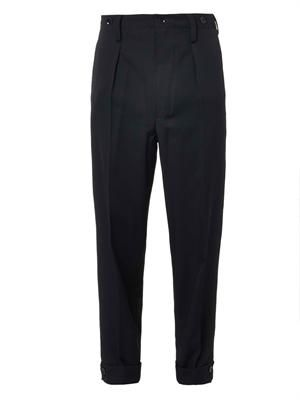 Tapered-leg wool trousers