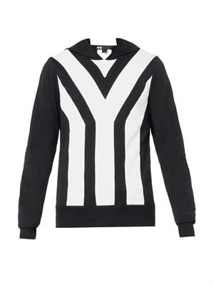 Y-stripe hooded sweatshirt