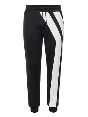 Y-stripe cotton-jersey track pants