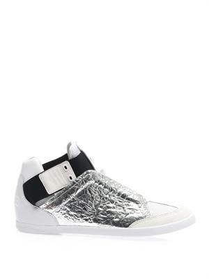 Kazuhiri metallic leather trainers