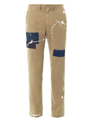 5 pocket denim-patch slim-leg chinos